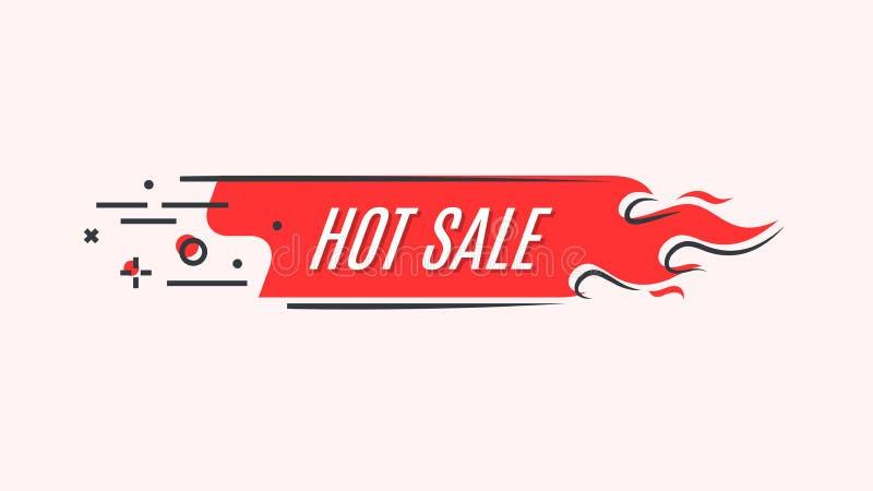 Insegna lineare piana del fuoco di promozione, prezzo da pagare, vendita calda, offerta, p illustrazione di stock