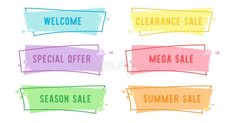 Insegna lineare piana di vendita di offerta speciale per la vostra progettazione di promozione illustrazione vettoriale