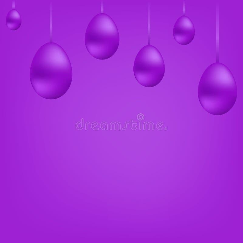 Insegna luminosa delle uova d'attaccatura viola sul nastro Pasqua felice Palle porpora Cartolina di Natale Illustrazione illustrazione di stock