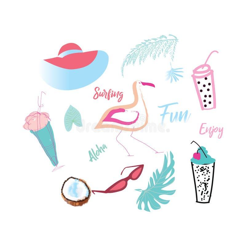 Insegna luminosa di estate Colori succosi La composizione con un cappello, i vetri di sole, la palma, nell'estate gelato Oggetti  royalty illustrazione gratis