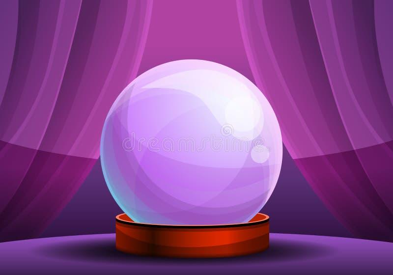 Insegna magica di concetto della palla di vetro di fortuna, stile del fumetto royalty illustrazione gratis
