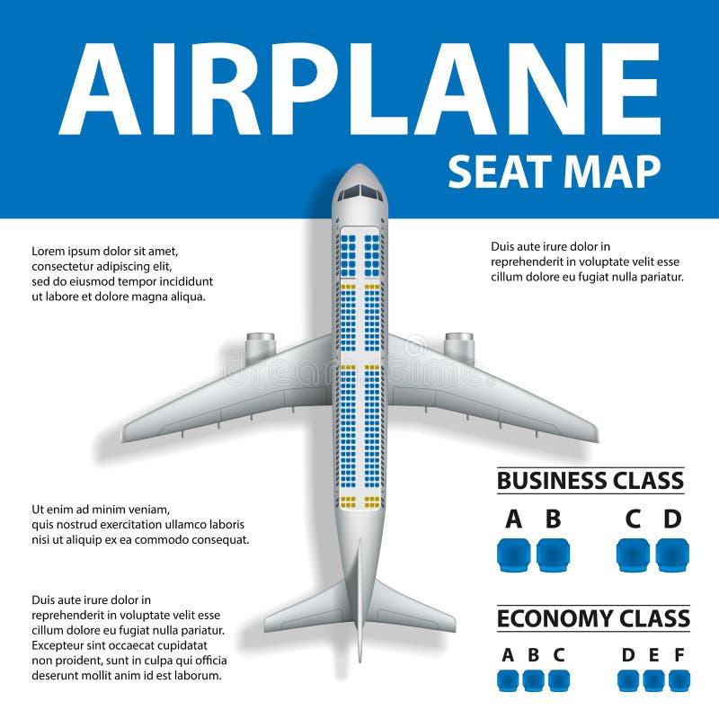 Insegna, manifesto, aletta di filatoio con la mappa di Seat dell'aeroplano Affare e classe economica e posto piani per testo Illu illustrazione di stock