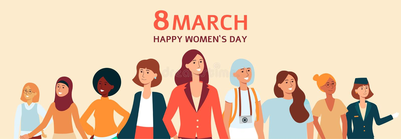 Insegna, manifesto o carta femminile con testo l'8 marzo, il giorno delle donne felici illustrazione di stock