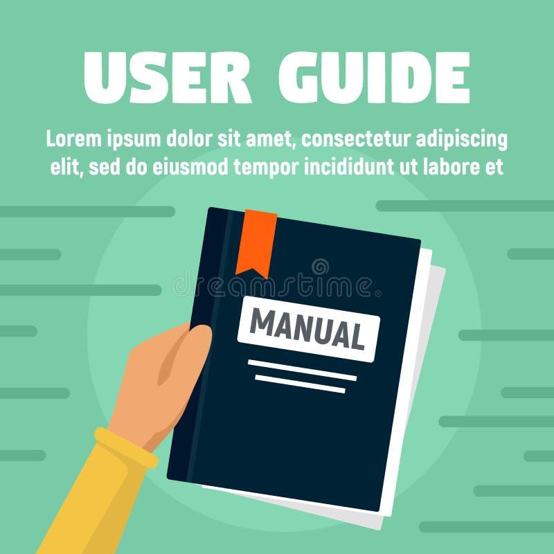 Insegna manuale di concetto della guida dell'utente, stile piano illustrazione vettoriale