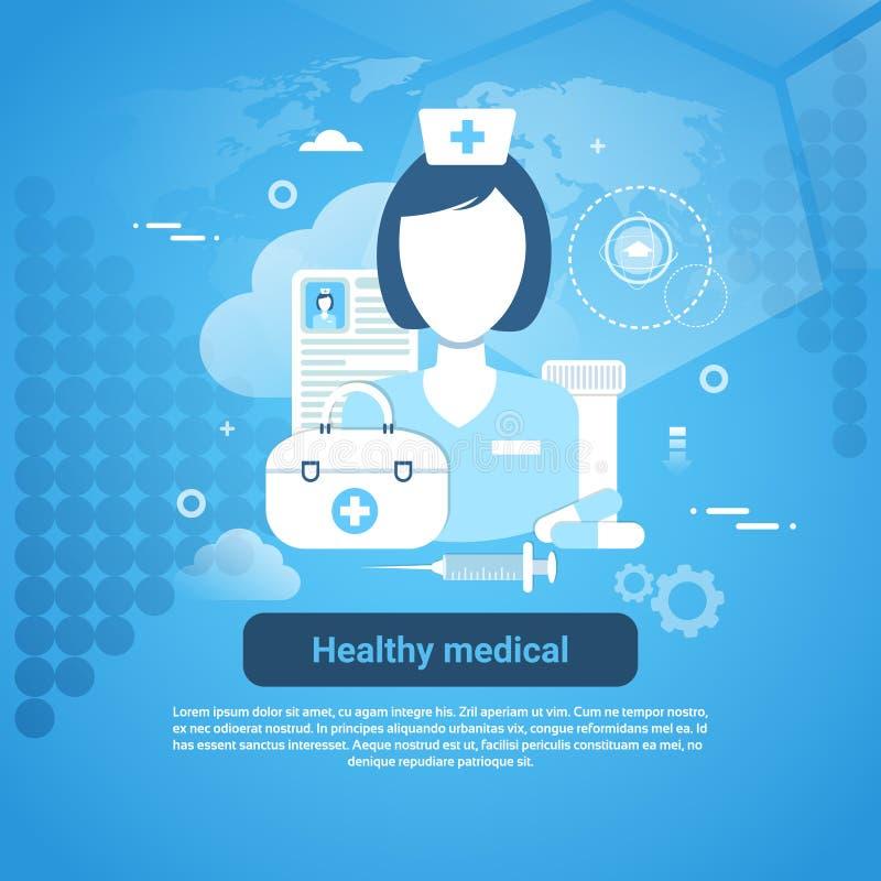 Insegna medica sana di web di concetto di applicazione di sanità con lo spazio della copia illustrazione di stock