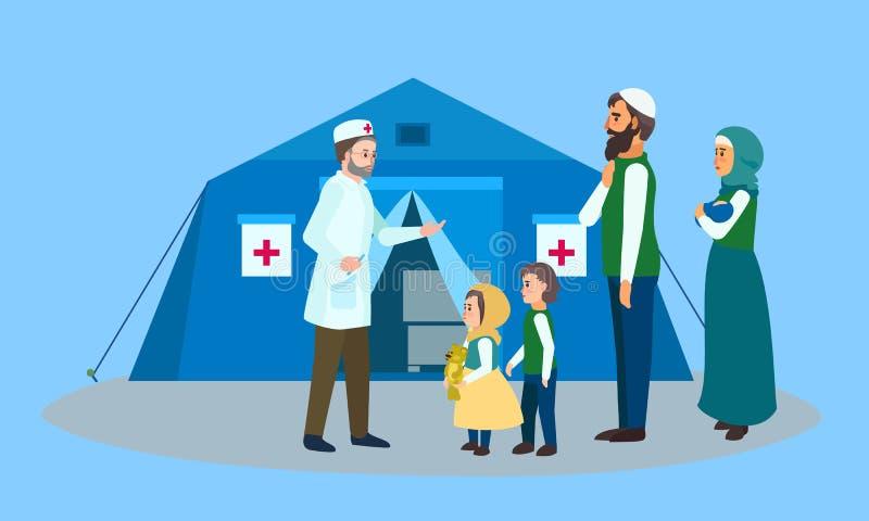 Insegna migratore di concetto della tenda di medico di famiglia, stile piano illustrazione di stock