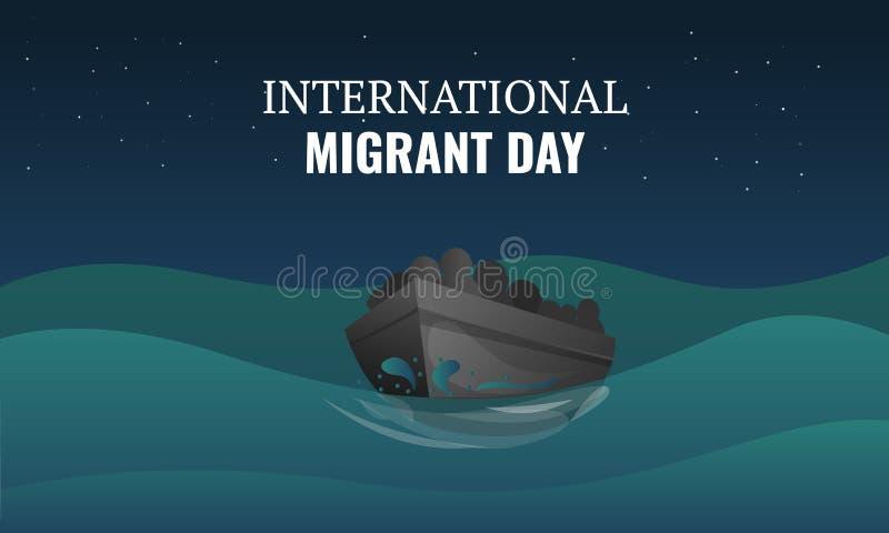 Insegna migratore internazionale di concetto di giorno, stile del fumetto royalty illustrazione gratis