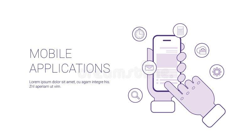 Insegna mobile di web del modello di concetto di affari di applicazioni con lo spazio della copia royalty illustrazione gratis