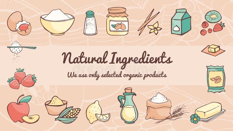 Insegna naturale degli ingredienti illustrazione di stock
