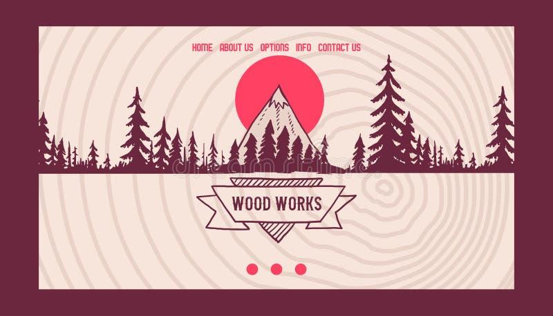Insegna naturale sempreverde d'atterraggio della società della siluetta di vettore della pagina di affari del pino della foresta  illustrazione di stock