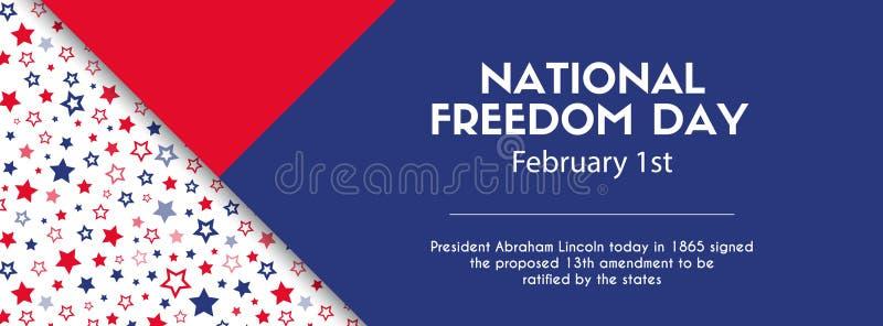 Insegna nazionale di giorno di libertà Dimensione della copertura di Facebook illustrazione di stock