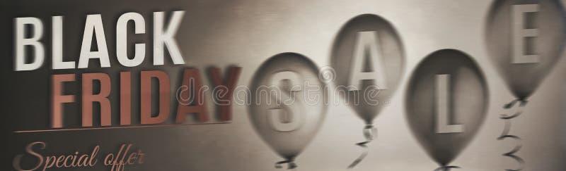 Insegna nera di vendita di venerdì con i palloni illustrazione vettoriale