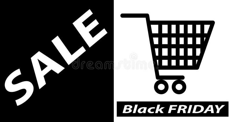 Insegna nera di vendita di venerdì, illustrazione di vettore del modello di progettazione della disposizione del manifesto illustrazione di stock