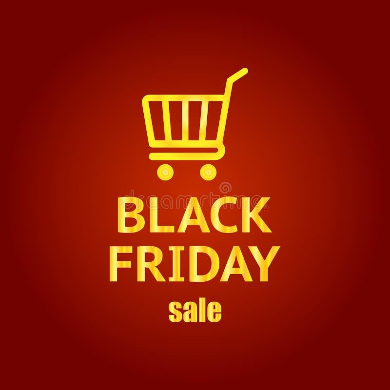 Insegna nera di venerdì Modello e canestro dell'iscrizione di vendita di Black Friday Illustrazione di vettore illustrazione vettoriale