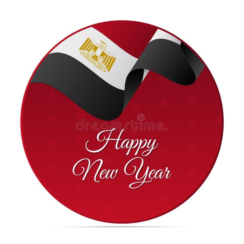 Insegna o autoadesivo del buon anno Bandiera d'ondeggiamento dell'Egitto Priorità bassa dei fiocchi di neve Illustrazione di vett illustrazione di stock