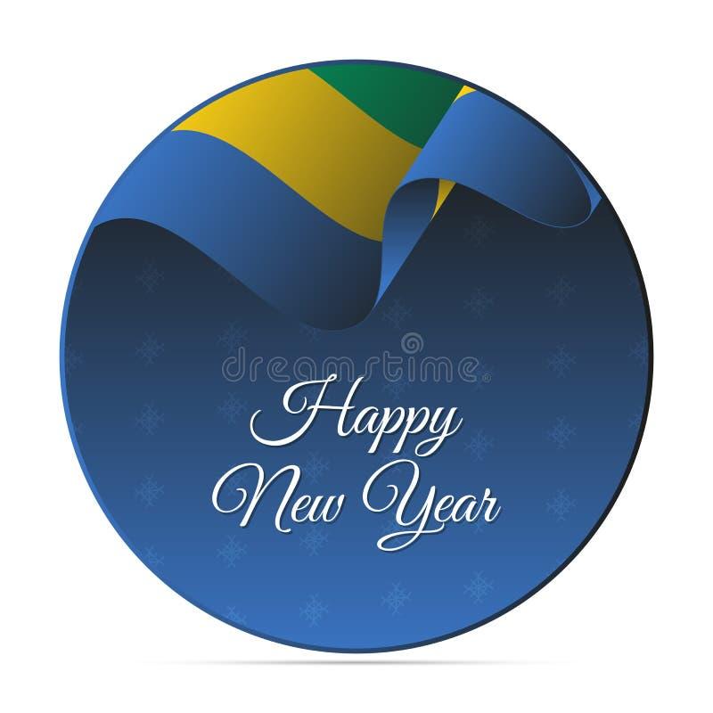 Insegna o autoadesivo del buon anno Bandiera d'ondeggiamento del Gabon Priorità bassa dei fiocchi di neve Illustrazione di vettor royalty illustrazione gratis