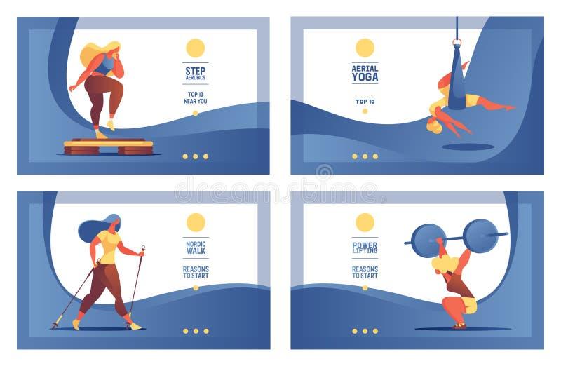 Insegna o insegne d'atterraggio della pagina con le ragazze di sport che fanno i exersises Pendenze blu e caratteri luminosi pian royalty illustrazione gratis