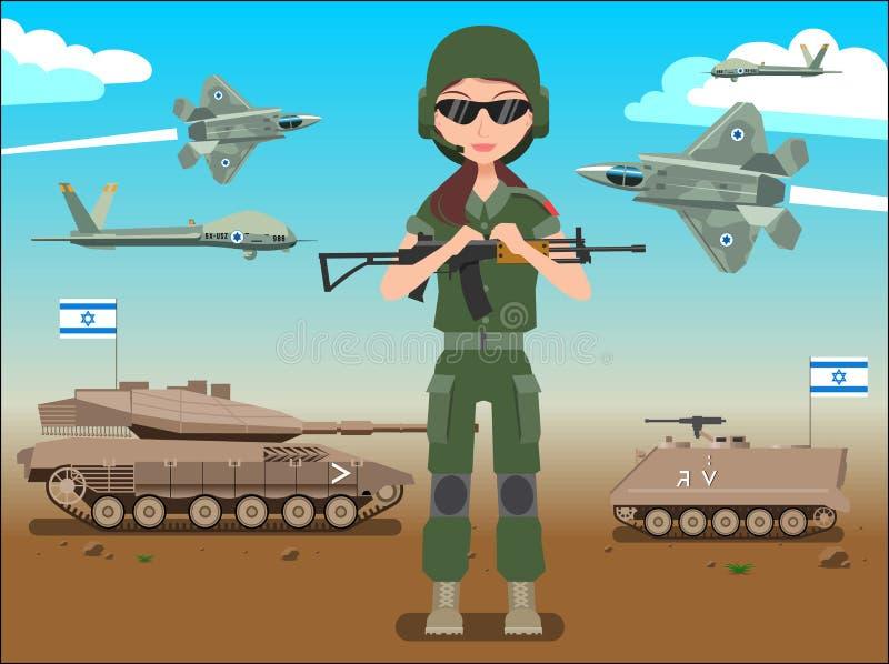 Insegna o manifesto dell'esercito delle forze di difesa di Israele Dell'IDF del soldato carroarmati anche & æreo a reazione in un illustrazione di stock