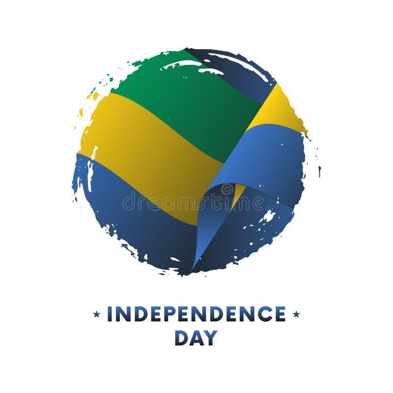 Insegna o manifesto della celebrazione di festa dell'indipendenza del Gabon Bandiera d'ondeggiamento del Gabon, fondo del colpo d illustrazione di stock