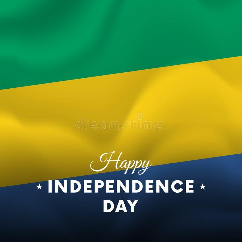Insegna o manifesto della celebrazione di festa dell'indipendenza del Gabon Bandierina d'ondeggiamento Vettore illustrazione vettoriale