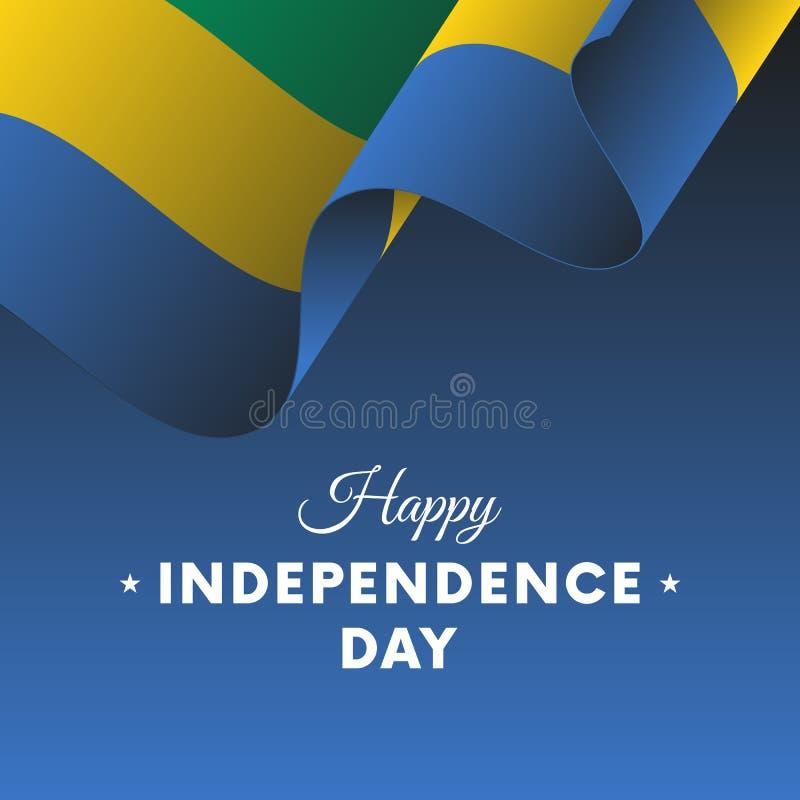 Insegna o manifesto della celebrazione di festa dell'indipendenza del Gabon Bandierina Illustrazione di vettore royalty illustrazione gratis