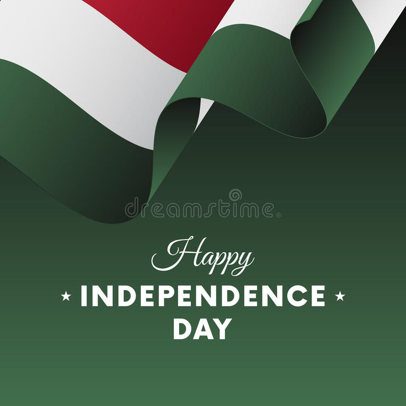 Insegna o manifesto della celebrazione di festa dell'indipendenza dell'Ungheria Bandierina d'ondeggiamento Vettore illustrazione vettoriale