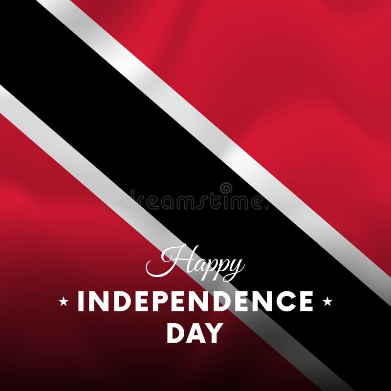 Insegna o manifesto della celebrazione di festa dell'indipendenza di Trinidad e Tobago Bandierina d'ondeggiamento Illustrazione d royalty illustrazione gratis