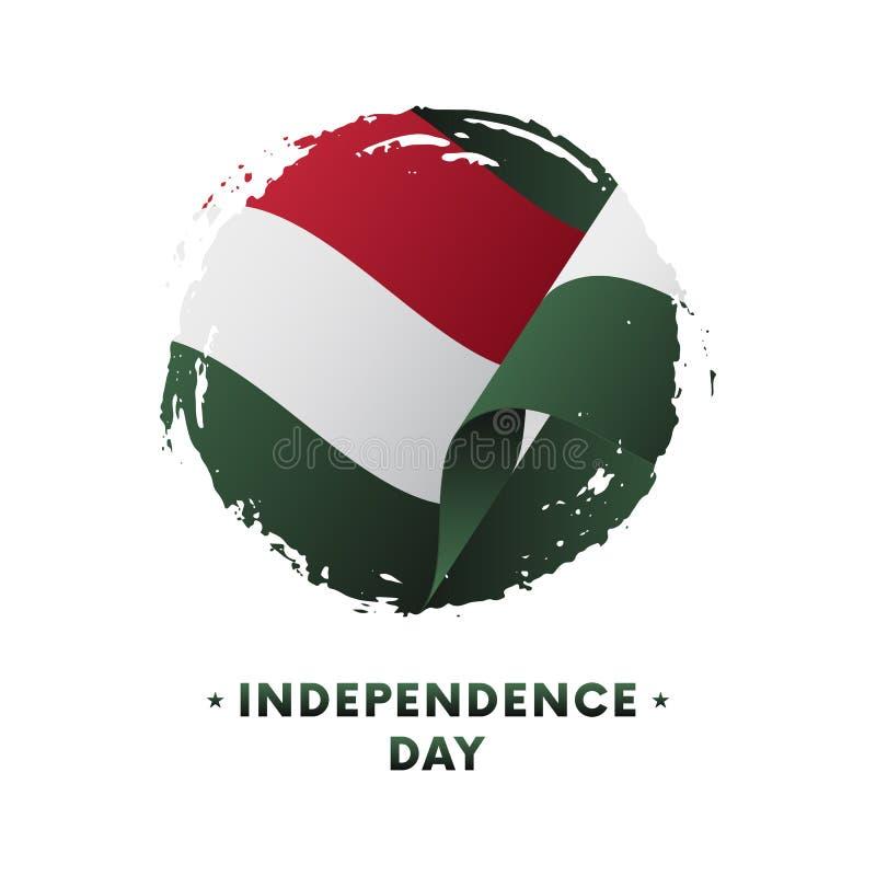Insegna o manifesto della celebrazione di festa dell'indipendenza dell'Ungheria Bandiera d'ondeggiamento dell'Ungheria, fondo del royalty illustrazione gratis