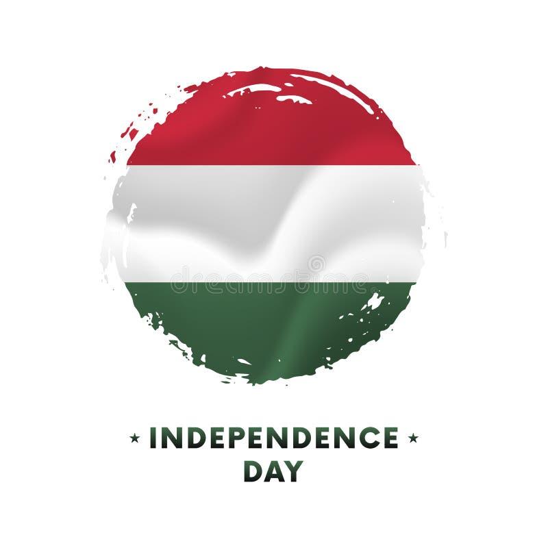 Insegna o manifesto della celebrazione di festa dell'indipendenza dell'Ungheria Bandiera d'ondeggiamento dell'Ungheria, fondo del illustrazione di stock