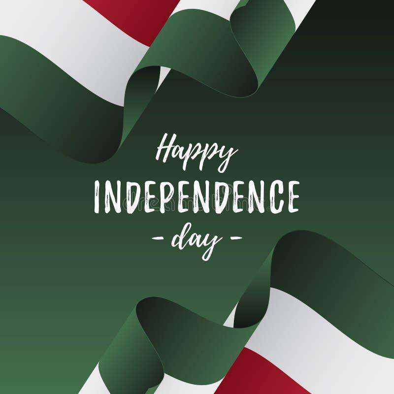 Insegna o manifesto della celebrazione di festa dell'indipendenza dell'Ungheria Bandiera dell'Ungheria Illustrazione di vettore illustrazione di stock
