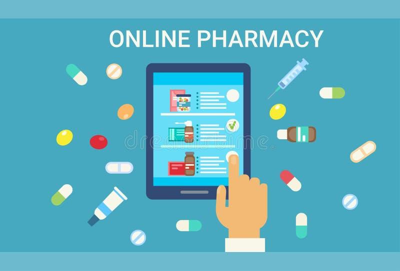 Insegna online della rete della medicina di servizio dell'ospedale del dottore Health Care Clinics di visita medica della farmaci illustrazione di stock
