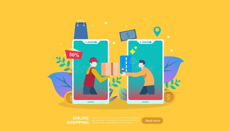 Insegna online di acquisto Concetto di affari da vendere il commercio elettronico con lo smartphone ed il carattere minuscolo del illustrazione di stock
