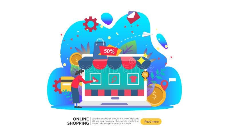 Insegna online di acquisto Concetto di affari da vendere il commercio elettronico con lo smartphone ed il carattere minuscolo del illustrazione vettoriale
