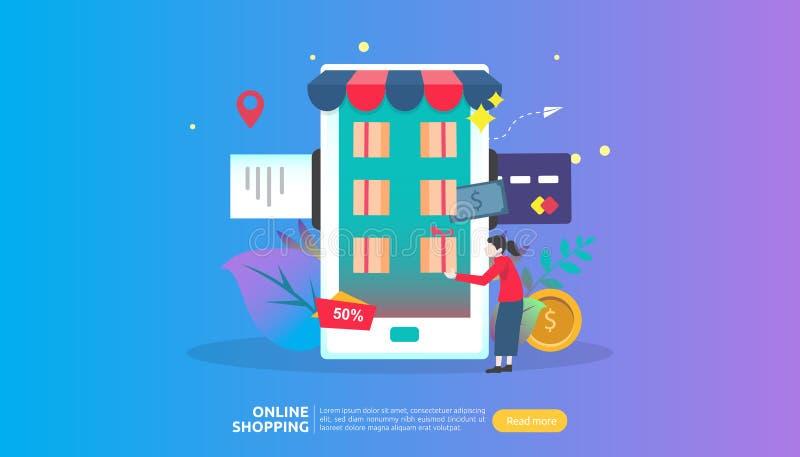 Insegna online di acquisto Concetto di affari da vendere il commercio elettronico con lo smartphone ed il carattere minuscolo del royalty illustrazione gratis