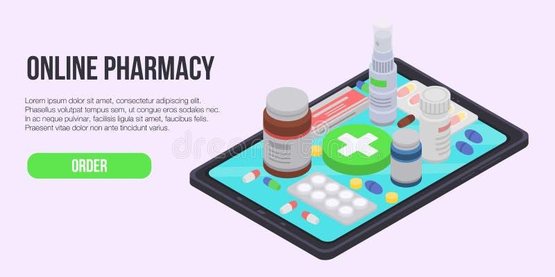 Insegna online di concetto della farmacia, stile isometrico illustrazione vettoriale