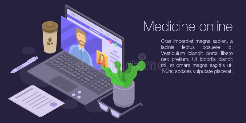 Insegna online di concetto della medicina, stile isometrico royalty illustrazione gratis