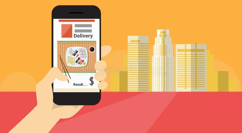 Insegna online di consegna dell'alimento di applicazione dello Smart Phone delle cellule della tenuta della mano illustrazione vettoriale