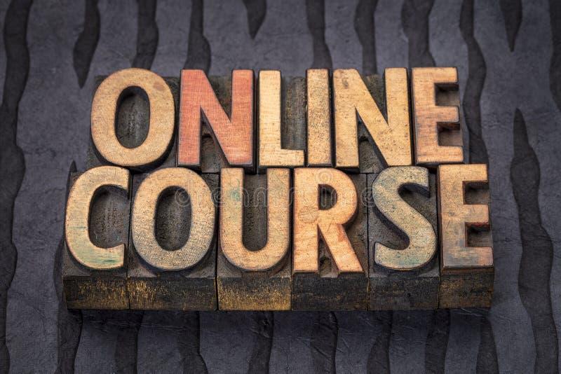 Insegna online di corso nel tipo di legno dello scritto tipografico immagini stock