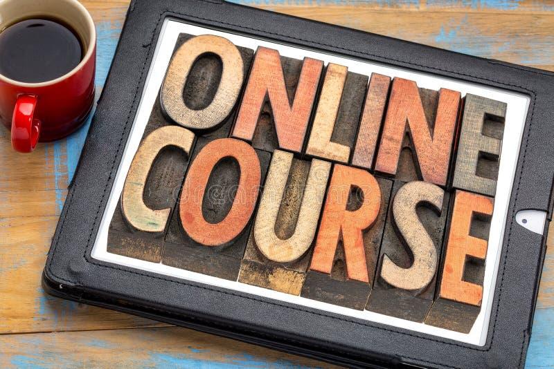 Insegna online di corso sulla compressa fotografia stock