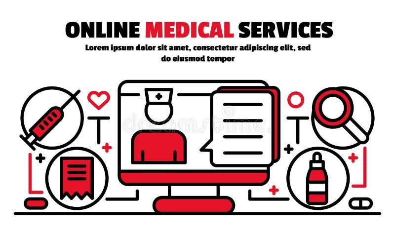 Insegna online di servizi medici, stile del profilo illustrazione di stock