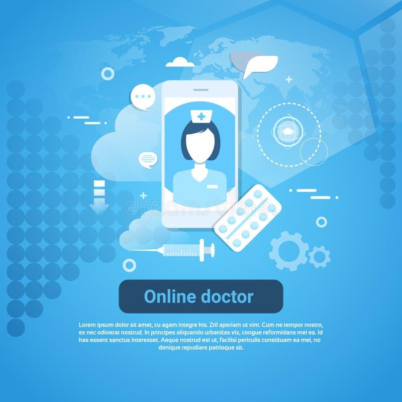 Insegna online di web di concetto di applicazione del dottore Medical Health Care con lo spazio della copia illustrazione vettoriale