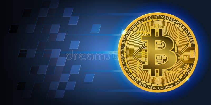 Insegna orizzontale con bitcoin volante dorato e fondo blu scuro illustrazione di stock