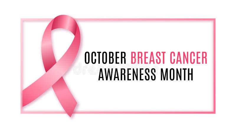 Insegna orizzontale con il nastro rosa, simbolo del mese di consapevolezza del cancro al seno illustrazione vettoriale