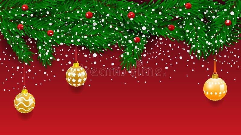 Insegna orizzontale con la ghirlanda e gli ornamenti dell'albero di Natale Oro e nastri d'attaccatura Grande per le alette di fil illustrazione vettoriale