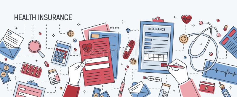 Insegna orizzontale con le mani che compilano il modulo di domanda di assicurazione malattia circondato dai dollari, documenti ca illustrazione di stock