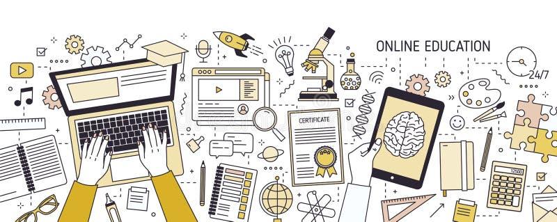 Insegna orizzontale con le mani che scrivono sulla tastiera del computer portatile e sui vari articoli per ufficio Online o istru royalty illustrazione gratis