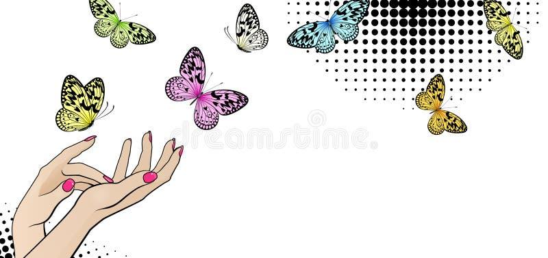 Insegna orizzontale con le mani femminili e le farfalle luminose illustrazione vettoriale