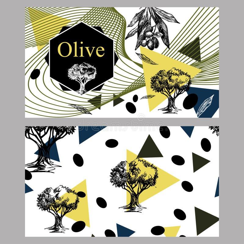 Insegna orizzontale con le olive di immagine e di olivo per i precedenti della copertura royalty illustrazione gratis