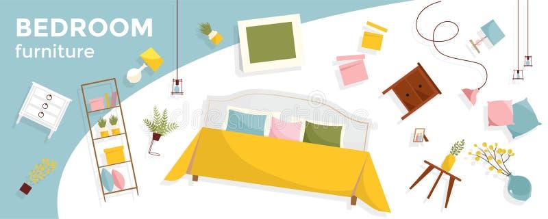 Insegna orizzontale con molti mobilia e testo volanti della camera da letto Oggetti interni - letto, comodini, piante, immagini,  illustrazione vettoriale