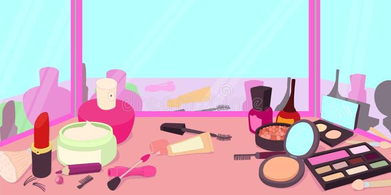 Insegna orizzontale dei cosmetici, stile del fumetto royalty illustrazione gratis